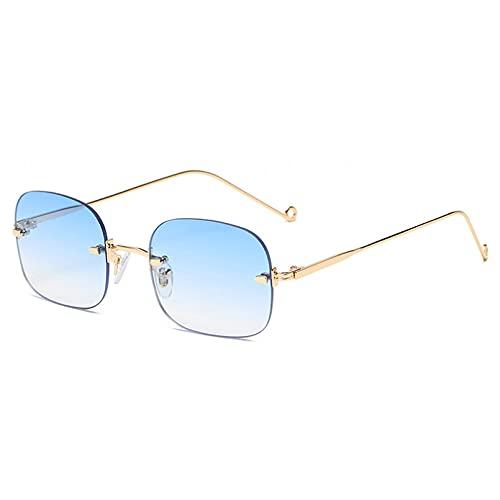 LUOXUEFEI Gafas De Sol Gafas De Sol Cuadradas Sin Montura Para Hombre Gafas De Sol Para Mujer Accesorios Marrón Azul