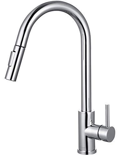 LOMAZOO Küchenarmatur Ausziehbar - Wasserhahn Küche Spültischarmatur Mischbatterie-Armatur Küche Warm + Kalt | Dusch- & Sprudelmodus Mit Strahlregler [Calypso]