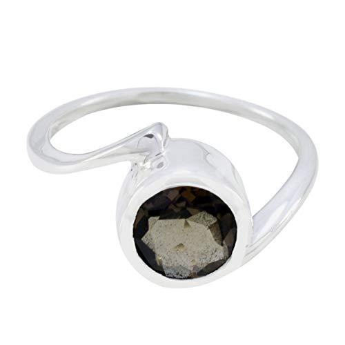 joyas plata natürlicher edelstein ovale form ein stein facettierter rauchquarz ring - sterling silber braun rauchquarz ring - januar geburt steinbock astrologie natürlicher edelstein ring