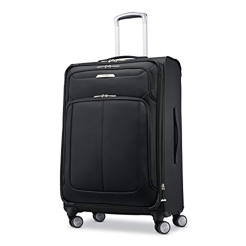 Samsonite Solyte DLX Softside Expandable Luggage with Spinner Wheels, Midnight Black, Checked-Medium 25-Inch