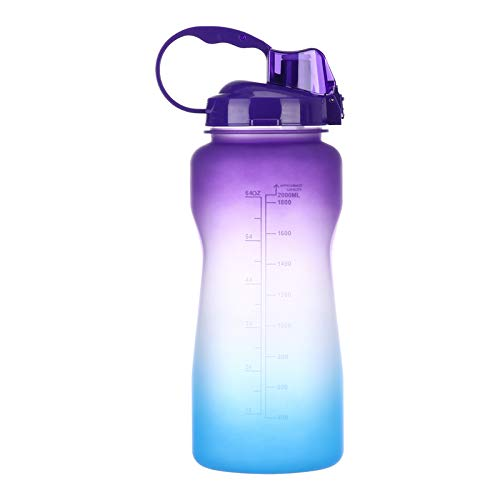 Water Bottle with Straw & Time Marker, 2L BPA Free Reusable Frosted Large Sport Water Bottle, Leakproof Big Plastic Men Women Kids Water Jug for Gym Office Workout Hiking Camp (A)
