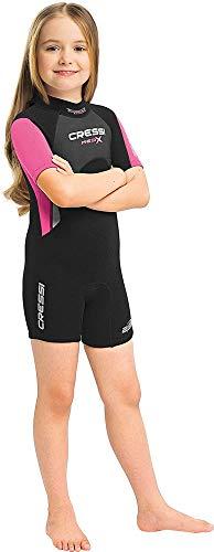 Cressi Unisex-Kinder Med X Jr Wetsuit 2.5mm Shorty Neoprenanzug Ideal zum Schnorcheln und Tauchen in gemäßigten Gewässern, Schwarz/Rosa, S (8/9 Jahre)