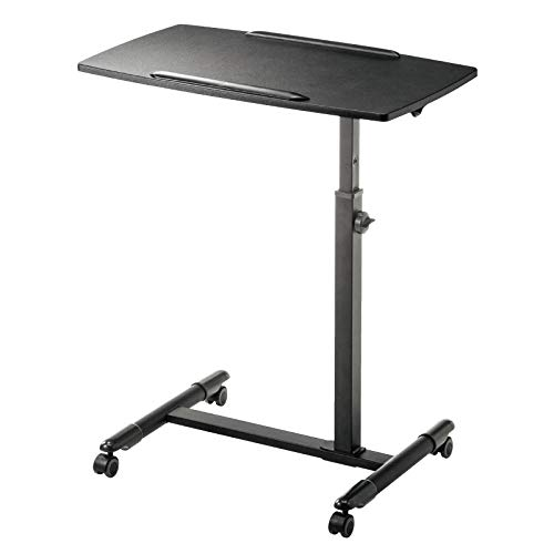 CHOUE Aluminum Alloy Foldable Work Desk with Black MDF,Adjusable height, Lockable Casters,Folding Adjustable Table for Bedridden Patients