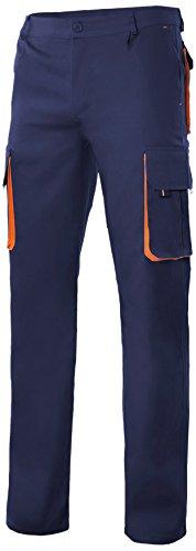 Velilla 103004/C1-16/T42 Pantalón multibolsillos, Azul marino y naranja, 42
