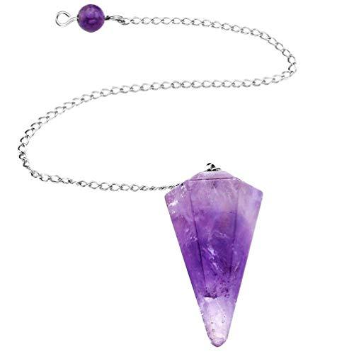 Holibanna - Collar de cuarzo natural de cristal chakra con piedras preciosas y colgante de radiestesia, reloj de pulsera para hombre y mujer morado