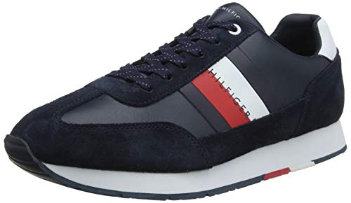 Tommy Hilfiger Corporate Leather Flag Runner, Scarpe da Ginnastica Basse Uomo, Midnight 403, 42 EU