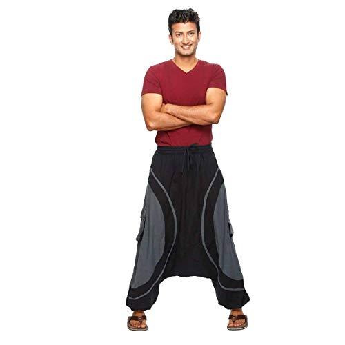 Simandra Haremshose Pumphose Aladinhose Pluderhose Yoga Goa Sarouel Baggy Aladin Freizeithose Soni Herren (Grau, L/XL)
