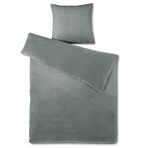 aqua-textil Feelwell Bettwäsche 135 x 200 cm 2teilig Coral Fleece Bettbezug Thermo Flausch grau