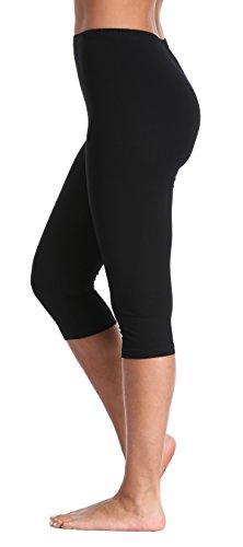A-Wintage Women's Plus Size Capri Leggings 3/4 Length Leggings Modal Comfortable Leggings,Black,2X