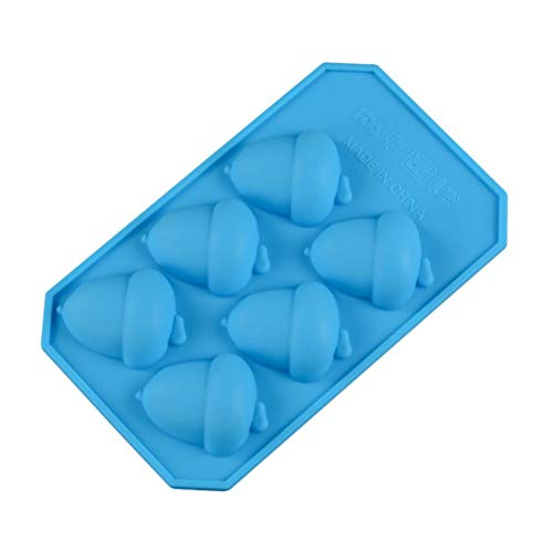 Molde de silicona de 6 celdas para tartas de bellota, para chocolate, gelatina, caramelo, jabón, cubitos de hielo, barra de whisky y fiesta, herramientas (color al azar)