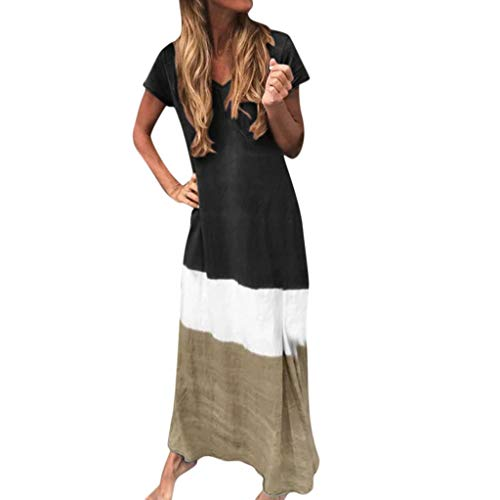 MIS1950s Women's Dress Loose Color Block Patchwork O-Neck Short Sleeve Casual Maxi Dresses Summer Fashion Beach Long Dress (Black, L)