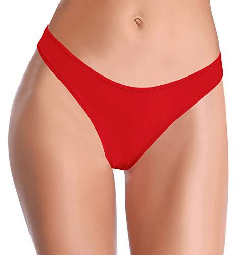 SHEKINI Donna Moda Sexy Pezzo sotto Bikini Bottom Pantaloni Nuoto Brasiliana Bikini Costumi da Bagno Vita Bassa Costume Tanga Culotte Slip Mare (Large, Rosso)