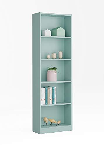 Esidra Libreria 5 Ripiani-Verde Acqua, 60 x 180 x 30 cm