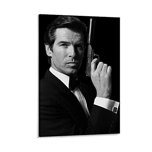 HZHI Pierce Brosnan Bond 007 - Poster su tela con cornice o senza cornice, stampa artistica da parete, 50 x 75 cm