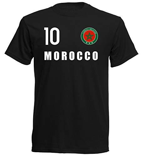 Nation Marruecos FH 10 SC - Camiseta de manga corta, diseño del escudo del FH 1 Negro L