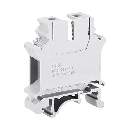 sourcing map 10stk UK16N DIN Schiene Terminal Block Schraube Klammer 660V 76A für 22-4 AWG
