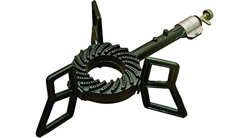 ELMA - Hornillo a gas de hierro fundido resistente a altas temperaturas - 3 patas y llama regulable -Estufa de gas de hierro fundido, para restaurante y catering