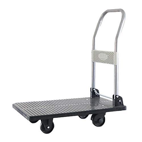 HYDT Transportwagen Einweg-Schubkarren mit Stahlhandlauf, fahrbarer klappbarer Plattform-Handkarren für den Hausgarten, Traglast 40kg, schwarz