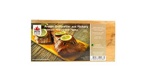 "Masterpiece ""Select"" - 2 Aroma Grillbretter Hickory, 15 mm stark, Grillplanke Premium Qualität, Set à 2 STK, Maße: 145 x 295 mm, BBQ Räucherbretter Hickory"