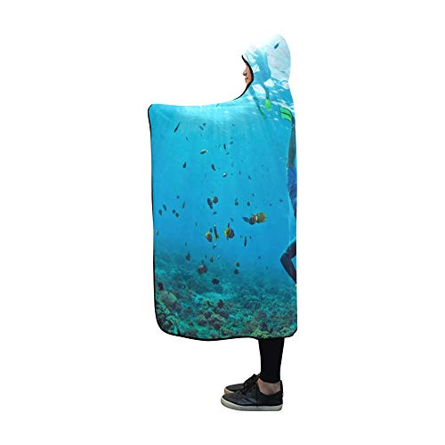 Rtosd Mit Kapuze Decke Happy Family Vacation Mann Schnorchel Maske Decke 60 x 50 Zoll Comfotable Hooded Throw Wrap