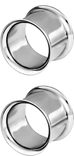 Forbidden Body Jewelry 1/2 Inch (12mm) Surgical Steel Mirror Finish Double Flared Tunnel Plug Earrings