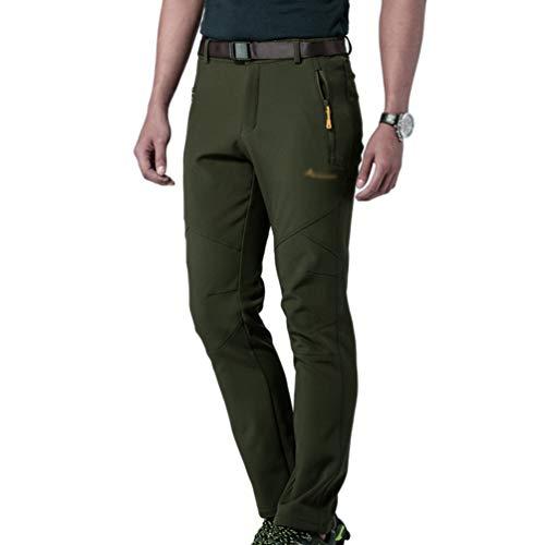 Tookang Imperméable Pantalon De Sport en Plein Air Pantalons d'escalade Couple Sportswear Poids Léger Pantalons De Ski Toison Respirant 1#Homme Armée Vert 5XL
