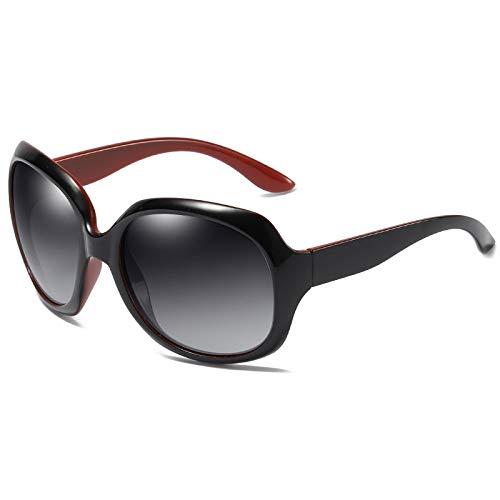 Nobrand Gafas de sol, moda femenina, gafas de sol polarizadas, monturas grandes y elegantes, gafas de conducción polarizadas versátiles