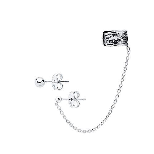Iyé Biyé Jewels - Pendientes Ear Cuff delfín Boho niña Mujer Plata de Ley 925 Cadena Bola 4 mm Cierre presión