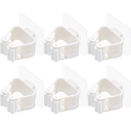 EINFAGOOD Mop Halter ohne Bohrung, Besenhalter Selbstklebend Gerätehalter Wandhalter (Mopp Halter, 6 STK)