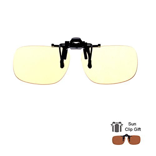 Blue Light Filter Clip On Glasses,Shileded Blue Light Blocking Computer/Gamer Glasses Flip Up Anti Eye Strain UV Protection with Amber Tint Lens-FDA Registered(Yellow+Brown)