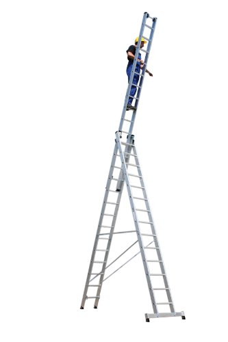 Aluminium multifunctionele ladder 3-delig met nivello®-traverse 3 x 10 sporten werkhoogte tot ca. 8 m.
