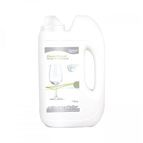 Clearwhite Basic Pulverflasche 1,5kg. Für ultimativ sauberes Geschirr und brillant glänzende Gläser und beste Maschinenhygiene.
