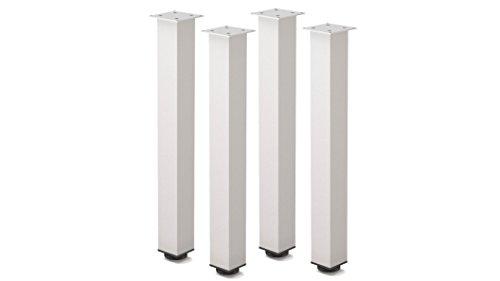 Tischbeine Höhenverstellbar Tischbeine Aluminium Metall Möbelfüße Für Tische Schreibtischbeine Tischfüße 4 Stück Höhe Querschnitt 60x60 mm im Quadrat Montagezubehör (710 mm, Aluminium natur)