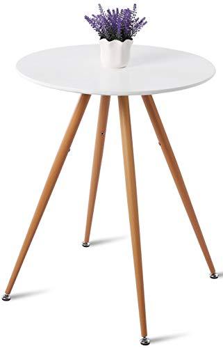 DORAFAIR Runder Kaffeetisch Weiss Wohnzimmer Tisch,MDF Beistelltisch mit Buchenholzmaserung Transfer Eisen Bein, 60 * 75cm