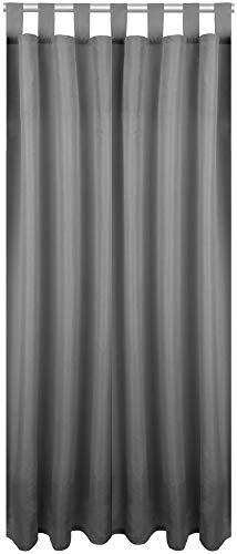 Bestlivings Blickdichte Dunkelgraue Gardine mit Schlaufen in 140x245 cm (BxL), in vielen Größen und Farben