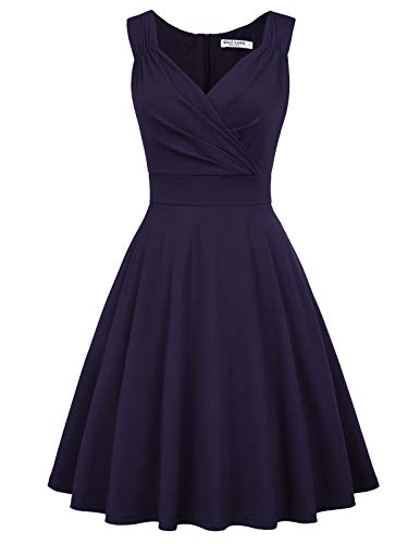 Solid Pinup Vintage Dresses for Juniors Teens Party Size M Navy Blue CL698-3