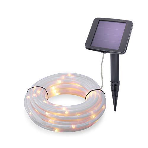 Solar Premium Lichtschlauch 10m für Sommer und Winter - 100 warmweiße LEDs, Lichtfarbe 3000K, 2 Betriebsmodi - extragroßes Qualitäts-Solarmodul - Party Weihnachten Solarleuchte Garten esotec 102174