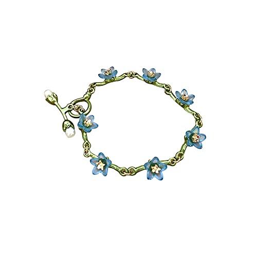 Pulsera para mujer estilo pastoral bosque retro nomeolvides pulsera de perlas de agua dulce exquisita pulsera para mujer regalo de joyería, verde
