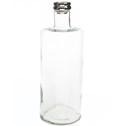 Belssia Jarrón Cuello Cristal Plateado y Transparente 15x42x15 cm