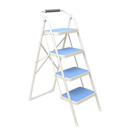 Trapladder van ijzer voor volwassenen, 4 treden, met armleuningen en klapstoel, antislip. Blauw