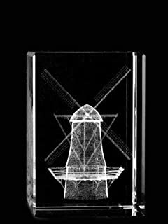 Asfour Crystal 1159-70-69 2 L x 2. 75 H x 2 W inch Crystal Laser-Engraved Windmill Miscellaneous Laser-Cut
