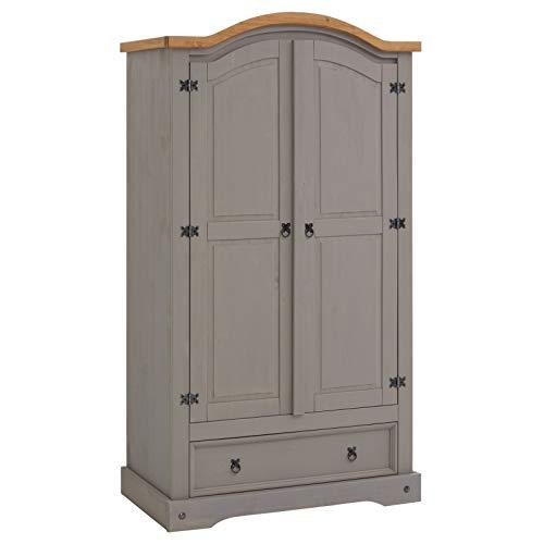 Kleiderschrank Ramon Garderobenschrank Mexiko Möbel Kiefer massiv,grau/gebeizt,gewachst, 2 Türen und 1 Schublade