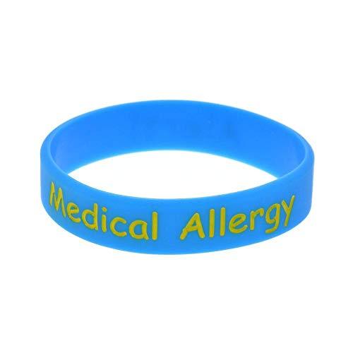North King Pulseras de Silicona con Refranes 'alergia médica' de Goma Pulseras para niños, Set-Pieces