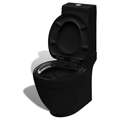 vidaXL Keramik Toilette Badezimmer Bad WC Spülkasten Waagerechter Abgang Doppel Spülung Schwarz