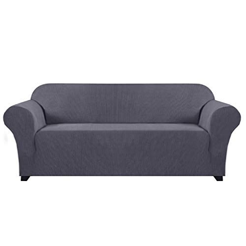H.Versailtex Stylish Lycra Jacquard Sofa Cover for Living Room High Stretch Sofa Cover/Protector Furniture Protector Cover for Sofa and Couch Spandex Jacquard Small Checks (Sofa, 3 Seater, Grey)