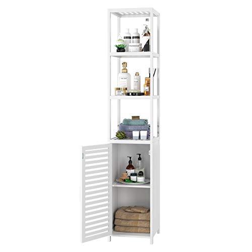 Homfa Standregal weiß schmal Hochschrank verstellbar Badezimmerschrank mit 3 Ablagen Badregal mit Schrank für Küche Wohnzimmer Badezimmer 33x33x169cm