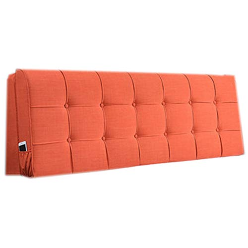 Headboard Bedside Cushion Pads Cover Bed Wedges Backrest Waist Pad,Cushion Bedside Cushion Bed Wedge Simple and Modern Bedroom Detachable,Orange,B185*58 * 10cm