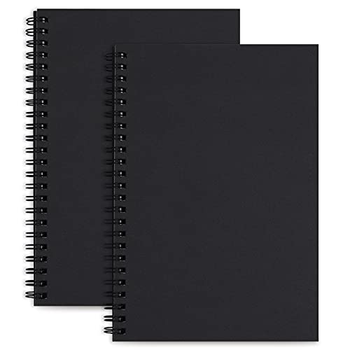 LABUK 2pcs Blank Notebook Journal, Soft Cover Unlined Sprial Note Pad Blank...