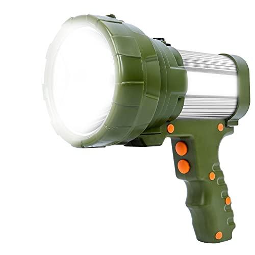 Linterna LED Recargable 12000 Lúmenes, Linternas LED Alta Potencia 3en1 10800mAh, IPX4 Impermeable Foco Super Brillante Reflector Portátil, Linterna Gran Alcance con 5 modos de iluminación
