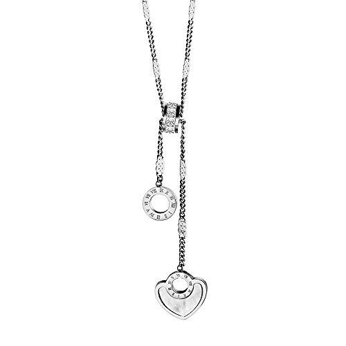 eeddoo® Damen Halskette aus Edelstahl mit Herz Kreisform und Gravur römische Ziffern ((1) Silber)